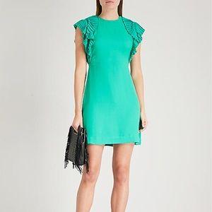 MAJE ROLINA RUFFLE SLEEVE MINI GREEN SHIFT DRESS